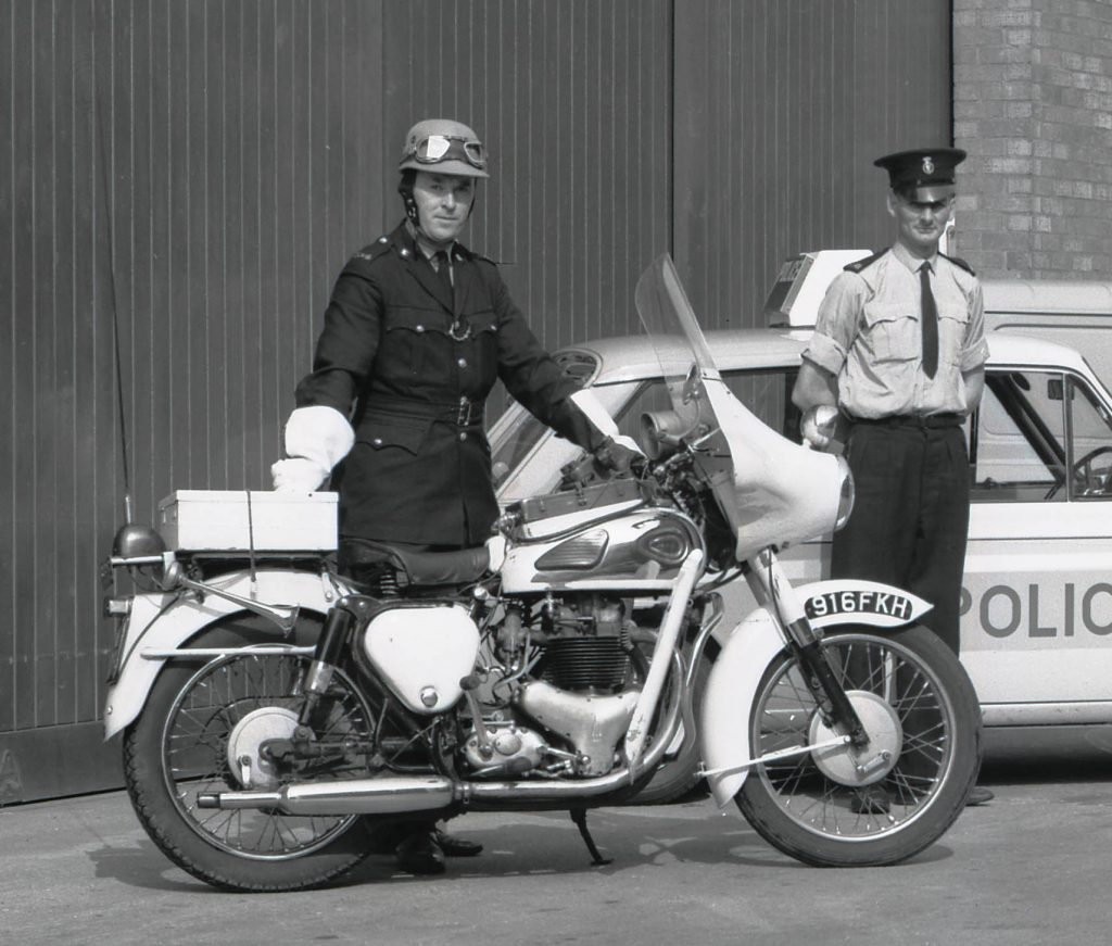 PC Harry Varney and his BSA A10 in the yard at Queens Gardens, Hull, c.1968