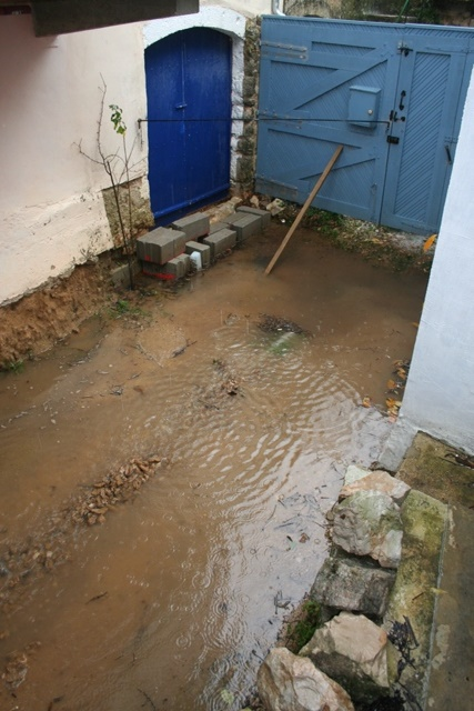 Flooded courtyard