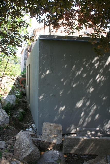 The finished outside walls