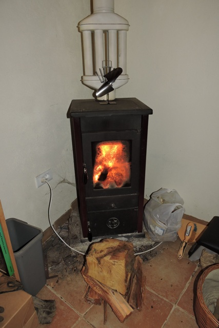 Wood stove burning