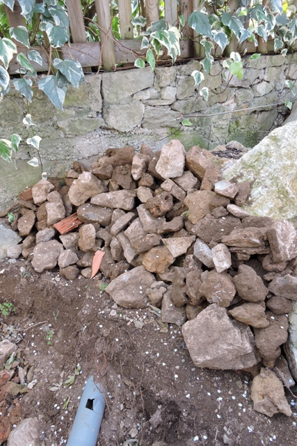 Large stones removed by hand