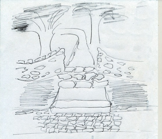 Stone steps drawing