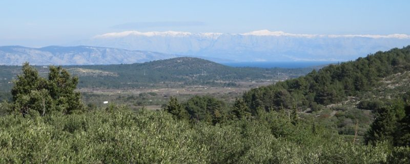 Island of Hvar - Dinaric Alps in the distance